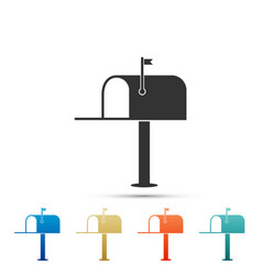 open mail box icon isolated on white background vector image