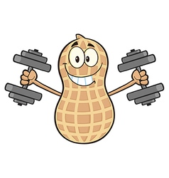 Peanut Cartoon Doing Weights vector image