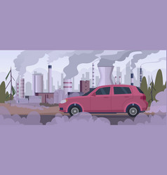 Polluter car atmospheric pollution industrial vector
