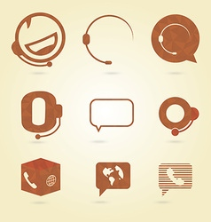 Polygonal icons for call center or hotline support vector image
