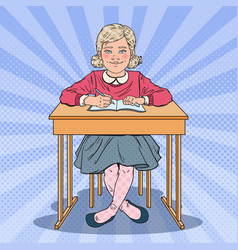 pop art schoolgirl sitting at school desk vector image