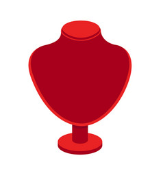Red velvet necklace stand for jewelry vector