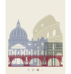 Rome skyline poster vector image