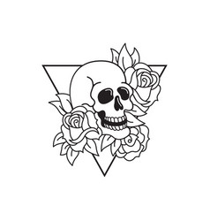 Rose and skull tattoo template traditional tattoo vector