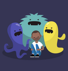 Scared black character surrounded by ugly vector