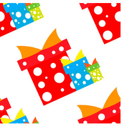 seamless pattern gift boxes red blue green vector image