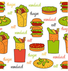 Seamless pattern with hamburger and rolls vector