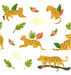 seamless safari pattern with leopards and leaves vector image
