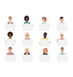 Set different smiling people holding white vector