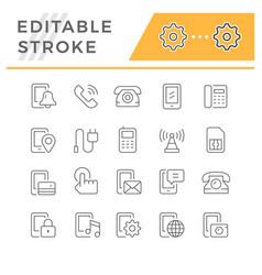 set editable stroke line icons phone vector image