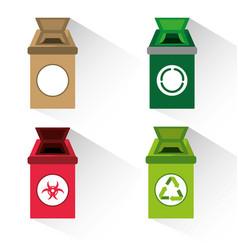 Set icon trash can for waste separation vector