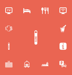 Set of 13 editable plaza icons includes symbols vector