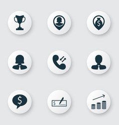 Set of 9 hr icons includes tournament pin vector