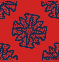 Set of blue on red mandalas seamlessdecorative vector