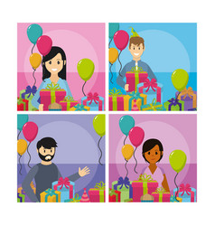 set of party celebration cards vector image