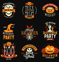 Set of Retro Vintage Happy Halloween Badges vector