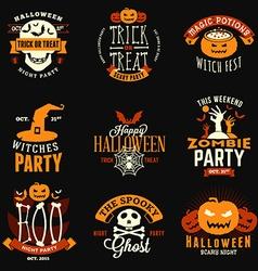 Set retro vintage happy halloween badges vector