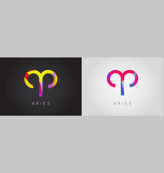 Set two aries constellation detailed stylish vector