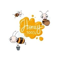 Set with cute cartoon bees vector