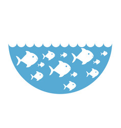 silhouette fishes in blue ocean with waves vector image