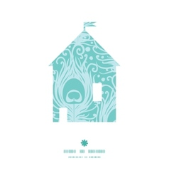 Soft peacock feathers house silhouette pattern vector