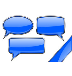 speech bubbles set of blue communication 3d icons vector image
