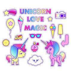 Stickers set with unicorn star comet flying vector