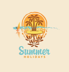 summer travel banner with island and palm trees vector image