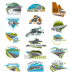 Travel or tourism agency road icons set vector