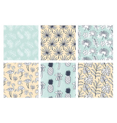 tropical summer seamless patterns collection vector image