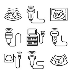 Ultrasound icons set outline style vector