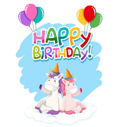 Unicorn on birthday template vector