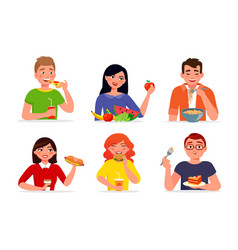 Various people eating fast food and healthy food vector