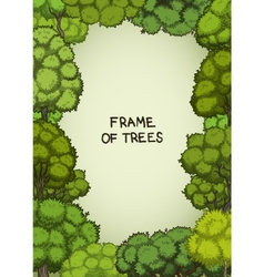 Vertical frame of the cartoon deciduous trees vector image
