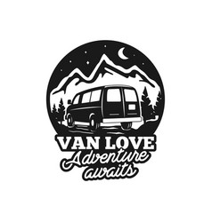 vintage hand drawn camp logo badge van love vector image