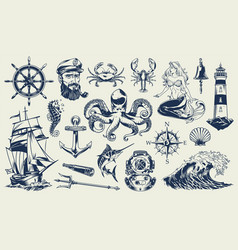 Vintage monochrome nautical elements set vector