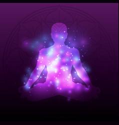 violet meditation silhouette mandala with shiny vector image