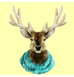 Watercolor handsome deer vector