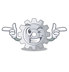 Wink gear on style character shape funny vector