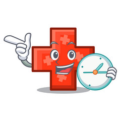 with clock cross character cartoon style vector image