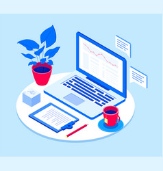 workplace with laptop - modern isometric vector image