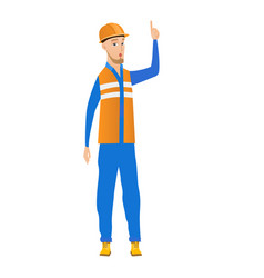 young builder with open mouth pointing finger up vector image