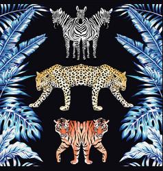 zebra panther tiger mirror blue leaves black vector image
