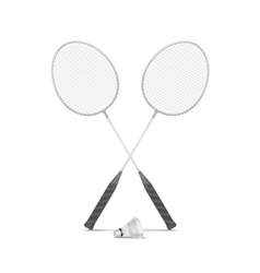Badminton Rackets with Shuttlecock Isolated vector image