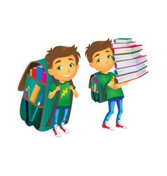 Boys with big school bags set vector