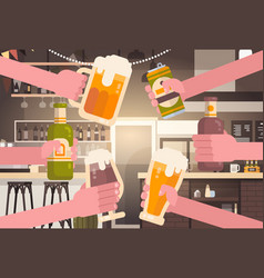 group of hands clinking beer people in pub or bar vector image