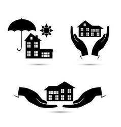 insurance black icons set vector image