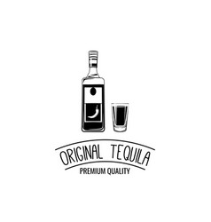 shot and bottle of tequila vintage vector image