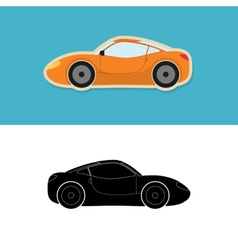 Sports car icon and silhouette vector image