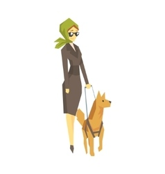 Stylish Blind Woman With Guiding Dog Young Person vector image
